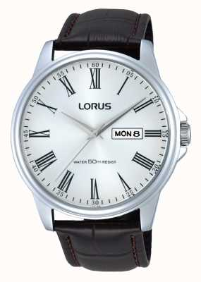 Lorus 男士不锈钢棕色真皮表带手表 RXN11DX9