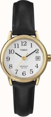 Timex 女装白色黑色真皮表带手表 T2H341