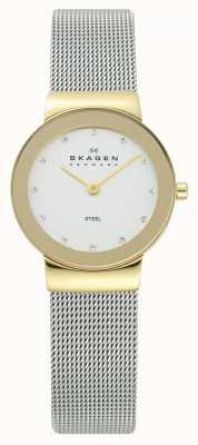 Skagen 女式金色调银色手镯手表 358SGSCD