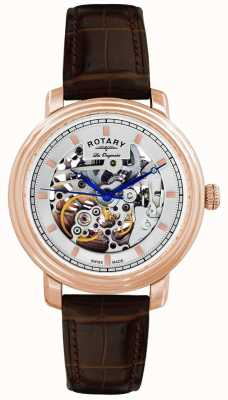 Rotary Gent的les originales棕色真皮表带手表 GS90505/06