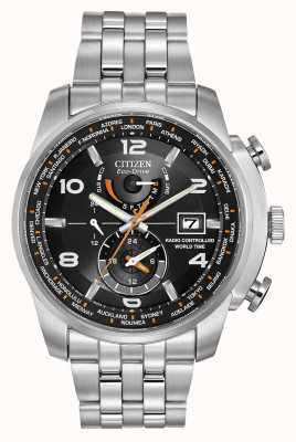 Citizen 无线电控制世界时间黑色表盘不锈钢 AT9010-52E