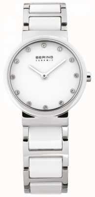 Bering 女装白色陶瓷,钢,水晶手表 10729-754