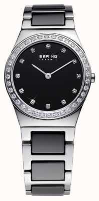 Bering 女装黑色陶瓷,钢水晶手表 32430-742