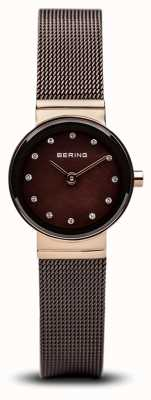 Bering 时间女士棕色经典网布手表 10122-265