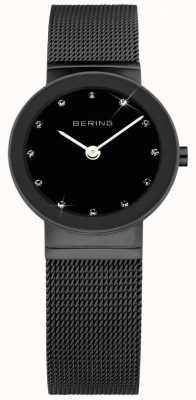 Bering 女子黑色ip钢,黑色表盘,水晶 10126-077