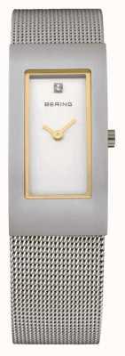 Bering 网眼表带,钢铁,白色表盘,金色调 10817-004