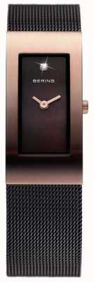 Bering 女装黑色ip,网眼表带,玫瑰金 10817-262