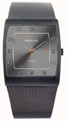 Bering 男士钛金,方形表盘,网状表带腕表 11233-077