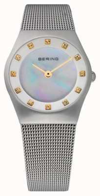 Bering 女式珍珠贝母表盘不锈钢网带| 11927-004