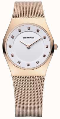 Bering 女装经典,玫瑰金,水晶集腕表 11927-366
