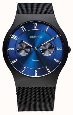 Bering 男士钛黑色蓝色表盘手表 11939-078