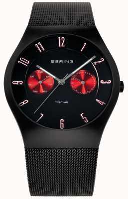 Bering 男士钛黑色红色口音网带手表 11939-229