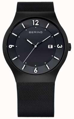 Bering 男士太阳能,黑色ip钢质手表 14440-222