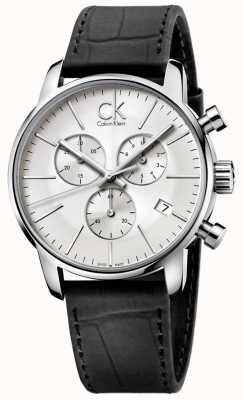 Calvin Klein 男士不锈钢和黑色银色表盘城市计时码表 K2G271C6