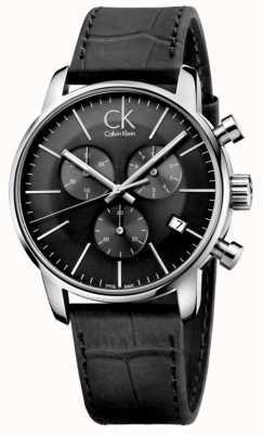 Calvin Klein 男士黑色不锈钢皮表带手表 K2G271C3