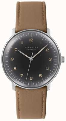 Junghans 男士最大钞票自动黑色表盘棕色皮革手表 027/3401.00