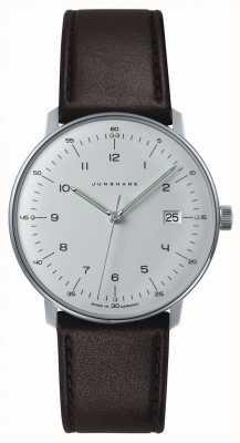 Junghans 男士max bill石英白色表盘棕色皮革手表 041/4461.04