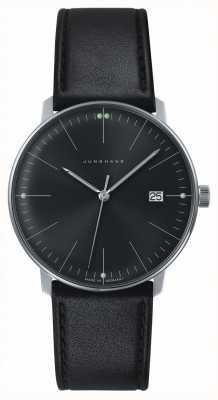 Junghans 男士max bill石英纯黑色表盘黑色真皮手表 041/4465.04