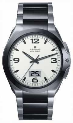 Junghans 男士百兆太阳能钢和黑色陶瓷手表 018/1423.44