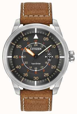 Citizen |男士生态驱动avion wr100 |棕色皮革表带| AW1361-10H