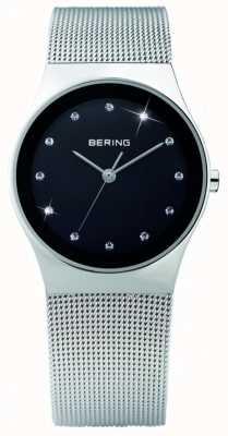 Bering 女装水晶|黑色表盘|不锈钢网带| 12927-002