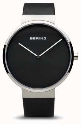 Bering 女装经典,黑色表盘,钢,皮革 14539-402