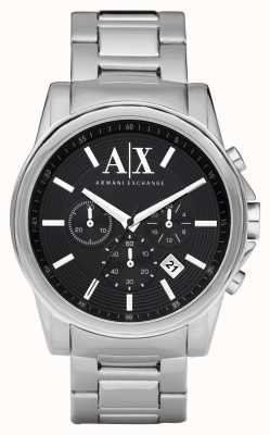 Armani Exchange 男士智能不锈钢计时码表黑色表盘 AX2084