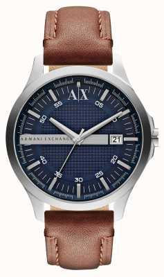 Armani Exchange 男士日期真皮表带手表 AX2133