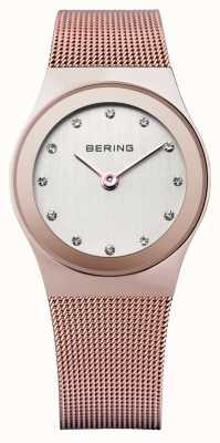 Bering 女式玫瑰金,网眼表带,水晶表 12927-366