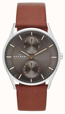 Skagen 男士holst棕色真皮表带手表 SKW6086