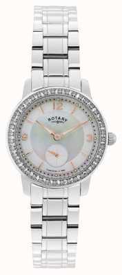 Rotary 女装,剑桥,珍珠表盘,水晶手表 LB02700/41