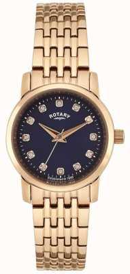 Rotary 女式玫瑰金蓝色表盘 LB02462/05