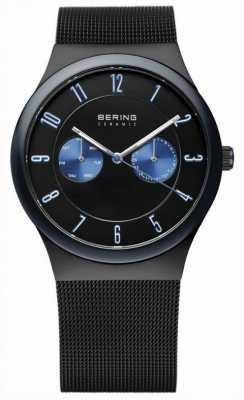 Bering 男士黑色陶瓷,网带,蓝色口音 32139-227