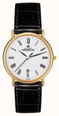 Michel Herbelin 男士呐喊,金盘,黑色皮革手表 12443/P01