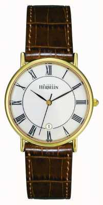 Michel Herbelin 男士pvd镀金手表,棕色皮革 12443/P08GO