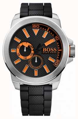 Hugo Boss Orange 男士不锈钢,黑色橡胶表带 1513011