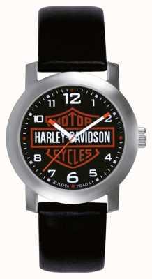Harley Davidson 男士黑色真皮表带手表 76A04