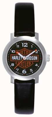Harley Davidson 女士黑色皮表带手表 76L10