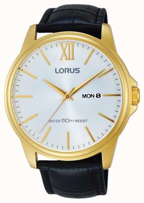 Lorus 男士黑色真皮表带银色表盘 RXN16DX9