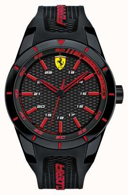 Scuderia Ferrari 红色rev黑色硅胶表带黑色红色表盘 0830245