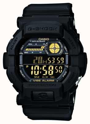 Casio G震动震动5报警手表黑色黄色 GD-350-1BER