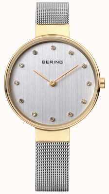 Bering 女式不锈钢网面银色表盘 12034-010