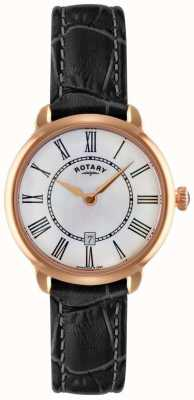 Rotary 女士elise黑色皮革表带手表 LS02919/41