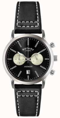 Rotary 男士复仇者黑色皮革表带chrono GS02730/04
