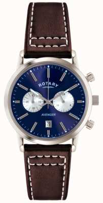 Rotary 男士复仇者棕色皮革表带chrono GS02730/05