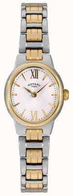 Rotary 女式两色调手镯白色表盘 LB02747/01