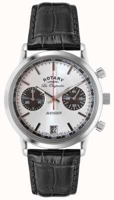 Rotary 男士复仇者黑色皮革表带chrono GS90130/06