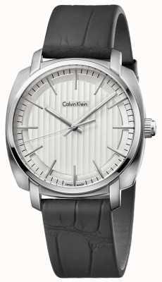 Calvin Klein 男士高线黑色真皮表带银色表盘 K5M311C6