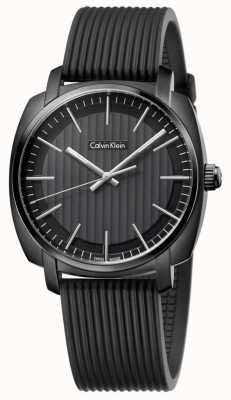 Calvin Klein 男士高线黑色橡胶表带黑色表盘 K5M314D1