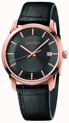 Calvin Klein 男士无限黑色真皮表带黑色表盘 K5S316C3
